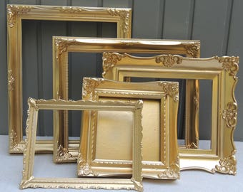 5 Ornate Gold Picture Frames, Gold Picture Frame Group, Gallery Picture Frames, Wedding Frames, Wall Frames, Frame Lot, Picture Frame Set