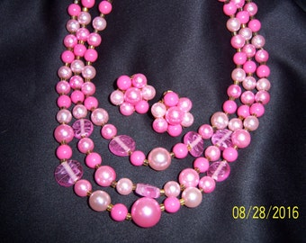 """Vintage Signed """"Japan"""" Bubblegum Pink Three Strand Necklace and Earring Set/Demi-Parure"""