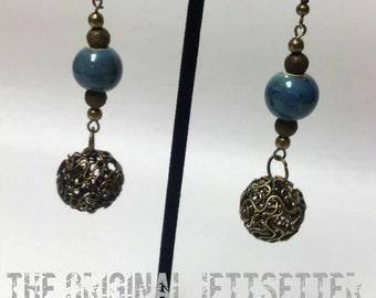 Blue Glass Earrings - Antiqued Brass Earrings