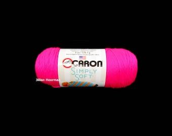 Caron Simply Soft Yarn, Neon Pink, 6oz
