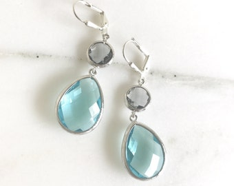 Aquamarine and Charcoal Dangle Earrings in Silver. Drop Earrings. Bridesmaids Earrings. Gift. Wedding Jewelry. Aqua Dangle Earrings. Gift.