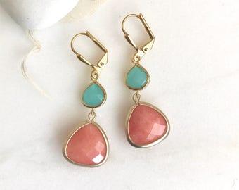 Orange Teardrop and Turquoise Glass Dangle Earrings. Fall Fashion Earrings. Tangerine Orange Earrings. Dangle Drop Earrings Gift.