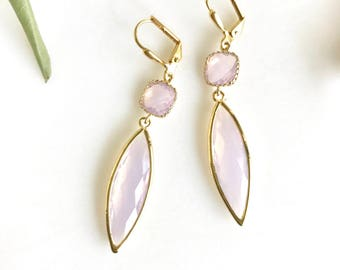 Pink Opal Bridesmaids Earrings. Jewel Dangle Earrings in Gold.  Jewelry Gift. Wedding. Bridesmaid Earrings. Bridal. Dangle. Drop.