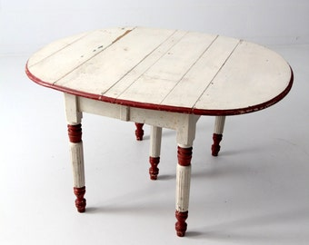 antique drop leaf table, painted five leg table