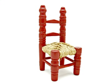 Red Wood Miniature Ladder Back Chair with Raffia Seat - Vintage Hand Made Dollhouse Furniture