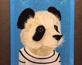 Panda portrait on a playing cards. 2017