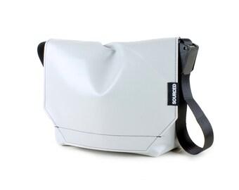Messenger Bag made from Upcycled Truck Tarp, Water resistant Laptop Bag, Courier Bag, Satchel, Shoulder Bag (R09)