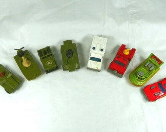 VINTAGE 1970s Eight Matchbox Cars 8 LOT Set Military Jeep Hummer Swamp Rat Boat Ambulance Fire Rescue Tank Toy Match Box Guy Gift Easter