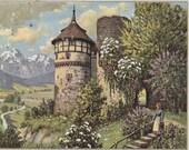 German Castle- 1900s Antique Postcard- Landscape Art Painting- Germany- Ges Gesch- Paper Ephemera- Paper Ephemera