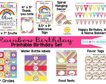 Rainbow Birthday - Printable Birthday set - Personalized!