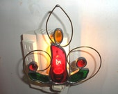 LT Stained glass red, Christmas candle, night light, lamp, with brass accents and glass nuggets