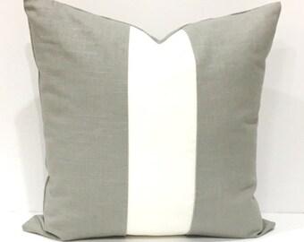 Linen Decorative  Pillow Grey White Throw Pillow 18 x 18  Sofa Pillow Invisible Zipper Home Decor READY TO SHIP