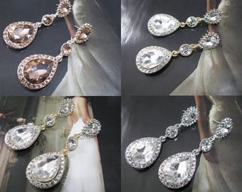 Crystals and Faceted Rhinestones 3 colors to choose from Bridal Wedding Jewelry Earrings Crystal Bridal, Gold Crystal Wedding Earrings