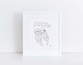 Sea Otter Art Print, Personalized Wedding Gift, Wedding Gift Idea, Anniversary Gift Idea, Baby Shower Gift, Kid's Room Art, 8x10, Line Art