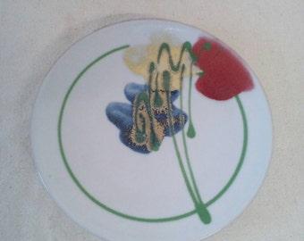 Mid Century Janice Tchalenko Studio Pottery Plate Signed Poppies Floral Pattern
