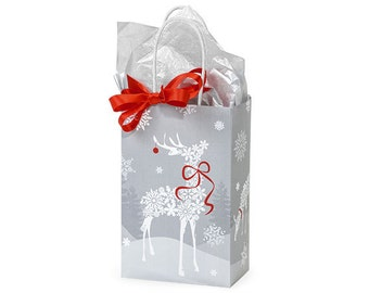 "12 Small Bags,  Christmas Snowflake Paper Gift Bags, Snowflake Gift Bags . 5-1/4""x3-1/2""x8-1/4"""