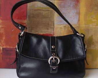 Excellent PERLINA Handbag Mod Black Leather Shoulder Purse