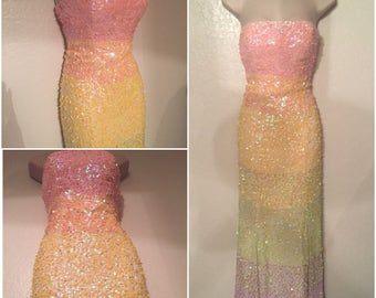 Gorgeous Vintage Rainbow Sequins Spring Formal Sequins Gown Moving Sale