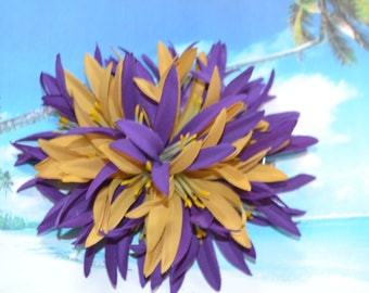 Spider Lily Hair clip  Puple/gold