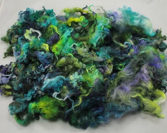 Lock mix Wensleydale and Teeswater, hand painted fiber fleece for spinning and felting, 4.9 oz