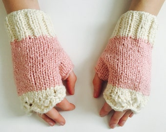 Pink and White Organic Cotton Fingerless Gloves