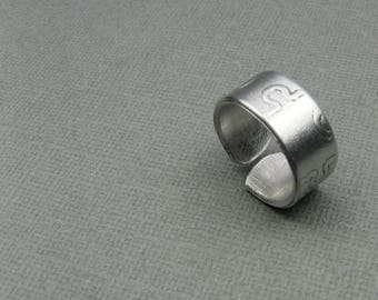 Puzzle Ring - Simple Aluminum Band With Puzzle Piece Pattern - Size 7 for Men or Women
