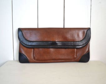 Vinyl Fold Over Clutch - 1970s Large Clutch Purse - Vintage Black Brown Faux Leather Handbag - Romay