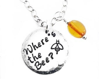 Where's the Bee AWARENESS Silver stamped pendants.