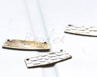 2 Pieces / Antique Brass / Brass Base / Hammered / Link (C3085//A543)