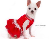 Dog Tutu Dresses Christmas Sexy Hand Crochet Teacup Chihuahua Clothes Red Bling-Bling Ballet Tutu Designer Dogs Myknitt DF22 - Free Shipping