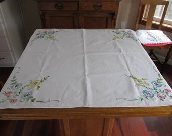 Sweet Vintage Embroidered Tablecloth Table Topper Morning Glory Unused