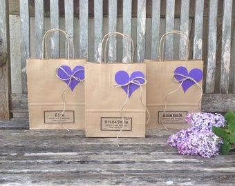 Wedding favour bags MEDIUM gift bags (18cm x 22cm x 8cm) with heart tag and natural jute