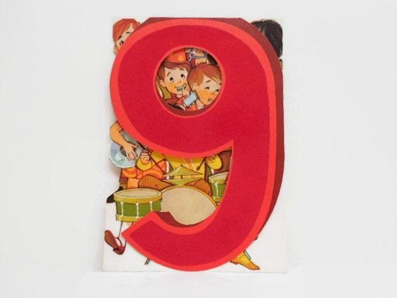 Fun Flocked Birthday Card for 9 Year Old Unused Vintage Child – Hallmark Birthday Cards