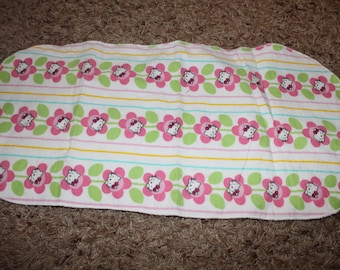 Hello Kitty Flowered Burp Cloth with Minky Stripes Pink, Yellow, Blue, and White