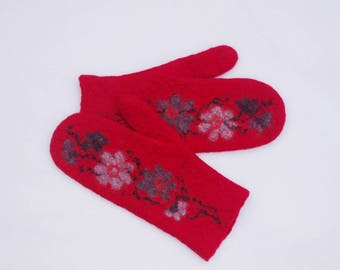 Felted Mittens Merino Wool Red Gray Floral