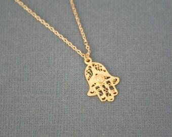 Gold Hamsa Necklace. Long Necklace. Sale. Gold Vermeil Hamsa Necklace. Layering Necklace. Layered Necklace. Simple Necklace. Long Necklace.