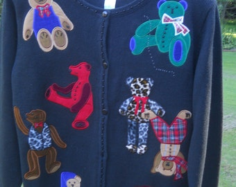 The Quacker Factory Black Teddy Bear Cardigan/Sweater-Small-Leopard Bear/Christmas Bear/Bedtime Bear