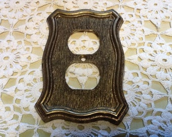 Antique Solid Brass Outlet Cover Dated 1968