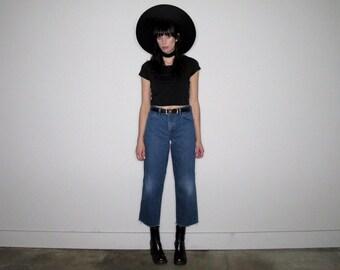 Straight Leg FRAY HEM Vintage Jeans High Waist Boy Fit Faded Size 27/28