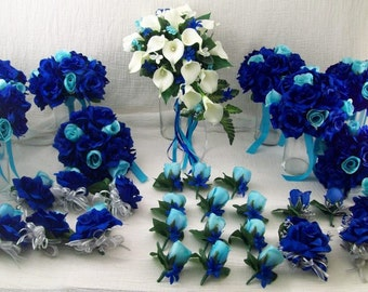 Royal Blue,Horizon Blue, Aqua, Pool Silver and White Bridal Bouquets Roses and Real Touch Calla lilies Silk Flowers made to order 33 Piece