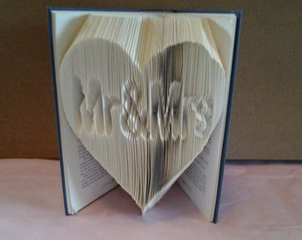 mr and mrs in a heart  folded book art