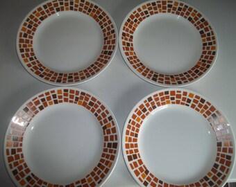 "Set of 4 Corelle  Boutique Precious Colors Amber Copper Bread, or Salad Plates 8 1/2"""