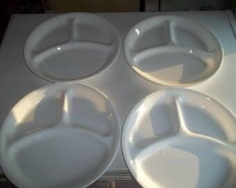4 Corelle Divided White  Dinner Plates