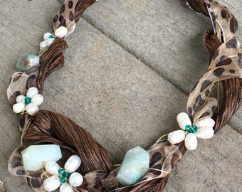 Shabby leopard wire wrap necklace