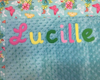 Personalized Minky Blanket Blue Flowers and Butterflies Baby Girl Gift Customize Option to add Name,  Handmade and Ready Made