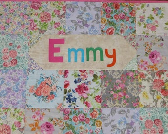 Floral Baby Quilt Personalized Pink Baby Girl Floral Gift,  Ready Made just add Name, Pink Baby Girl Quilt Large Flowers, Handmade