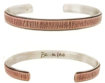 Men's Wide sterling silver and copper cuff, personalized gift for him, silver hidden message cuff, hand stamped, snakeskin