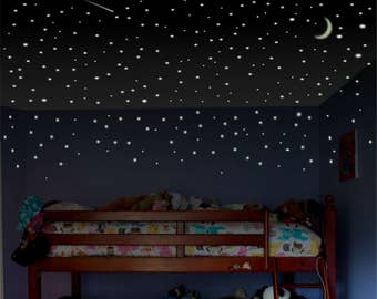 Boys room wall decal, Glow Stars, childrens room wall decal, toddler room wall decal, ceiling stars, bedroom stars, Glow in the Dark Stars