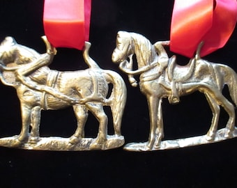 Two Vintage Horse Brasses Tree Ornaments Equestrian YourFineHouse Vintage Christmas SHIPSWORLDWIDE