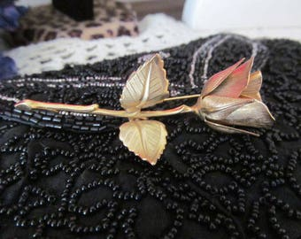 Vintage Giovanni Gold Tone Rose Brooch Pin Signed